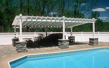 Chester, NJ Solar Pool Heating System Mounted On Custom Built Pergola