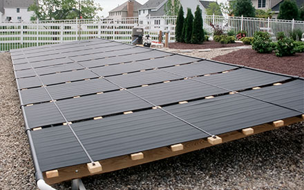 Plainsboro, NJ Ground Rack Mounted Solar Pool Heating System
