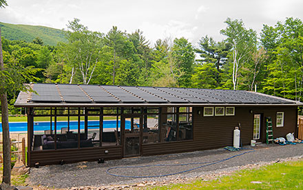 Woodstock, NY Solar Pool Heating System on Pool House